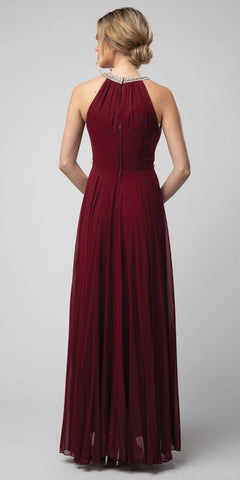 Burgundy Halter Long Formal Dress with Keyhole Neckline