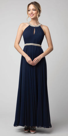 Navy Blue Halter Long Formal Dress with Keyhole Neckline