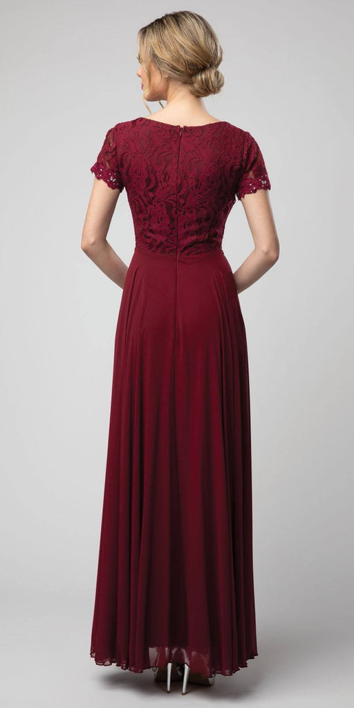 Burgundy Short Sleeved A-Line Long Formal Dress