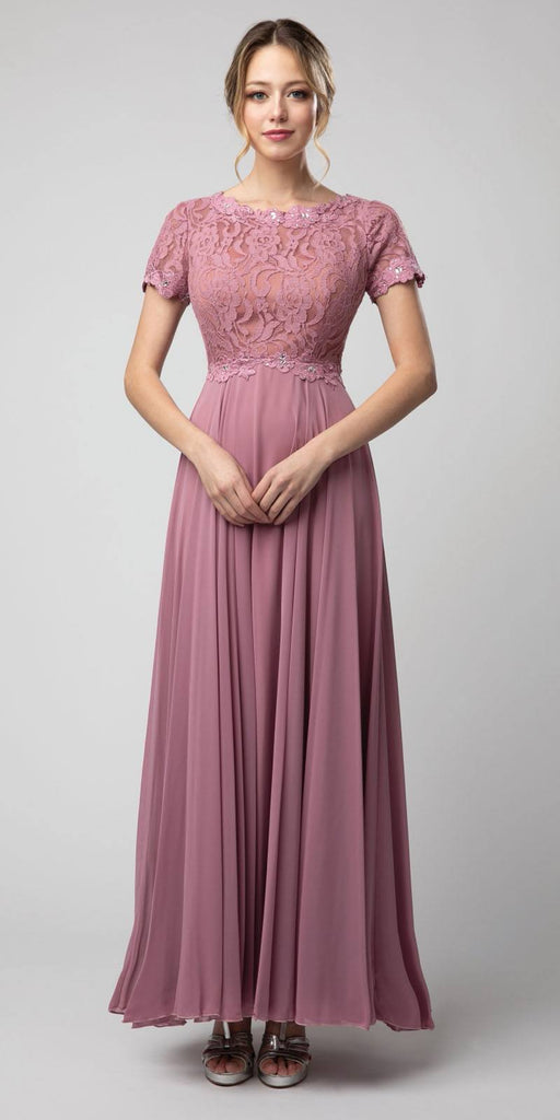 Mauve Short Sleeved A-Line Long Formal Dress