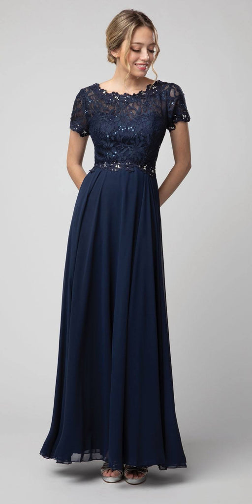 Navy Blue Short Sleeved A-Line Long Formal Dress