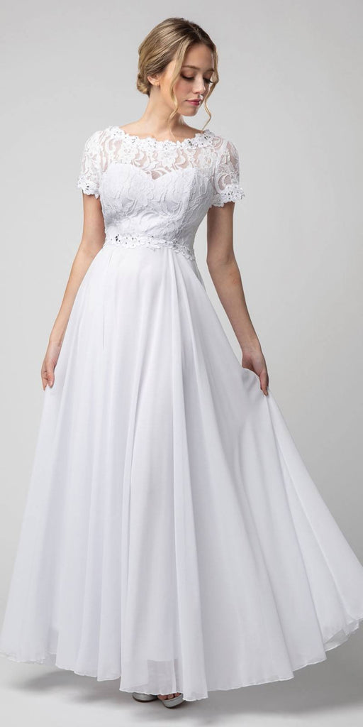 White Short Sleeved A-Line Long Formal Dress