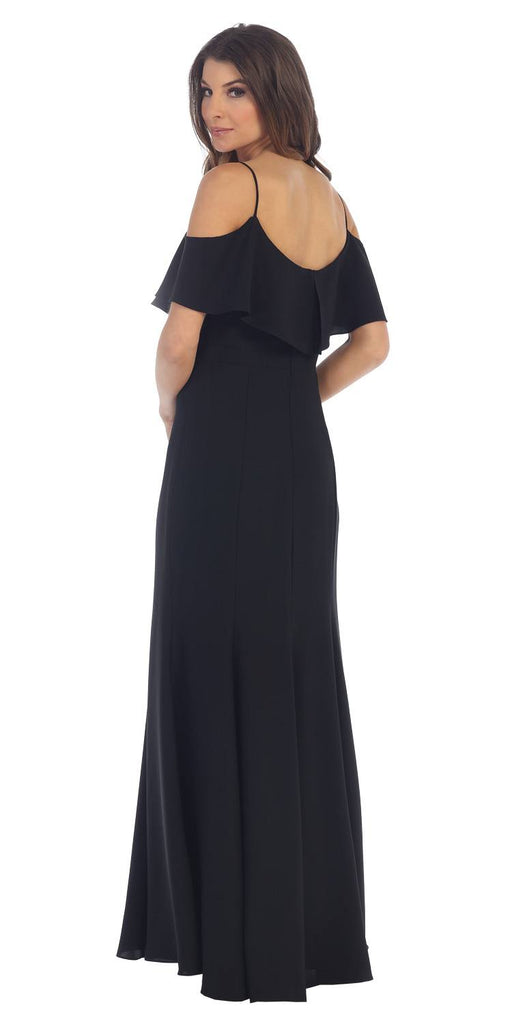 Cold-Shoulder Fit and Flare Long Formal Dress Black