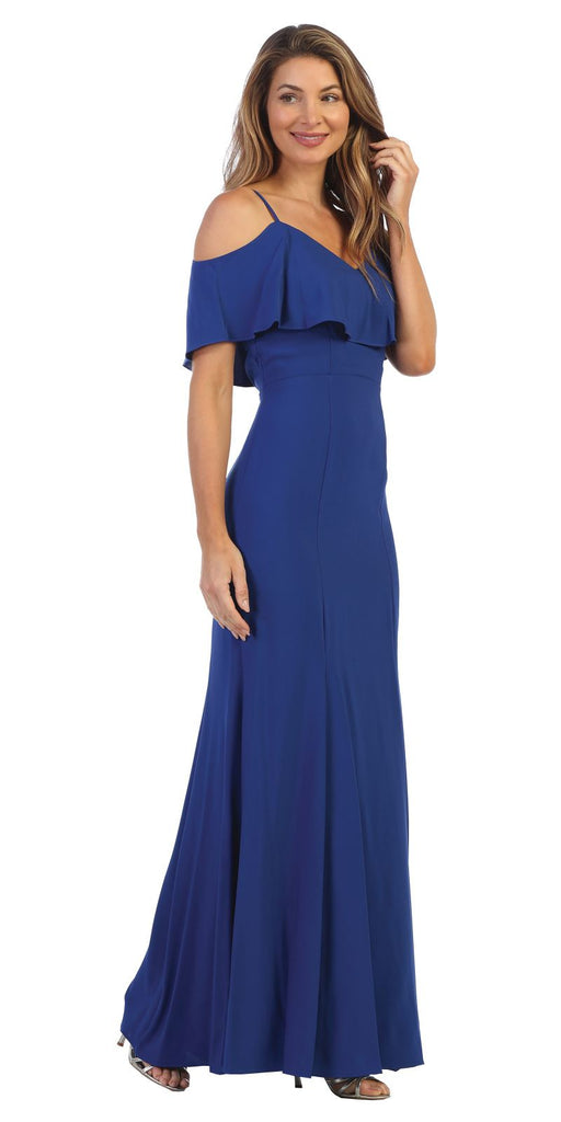 Cold-Shoulder Fit and Flare Long Formal Dress Royal Blue
