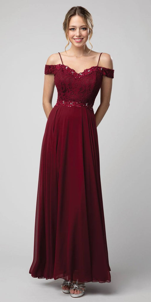 Lace Bodice Cold-Shoulder Long Formal Dress Burgundy