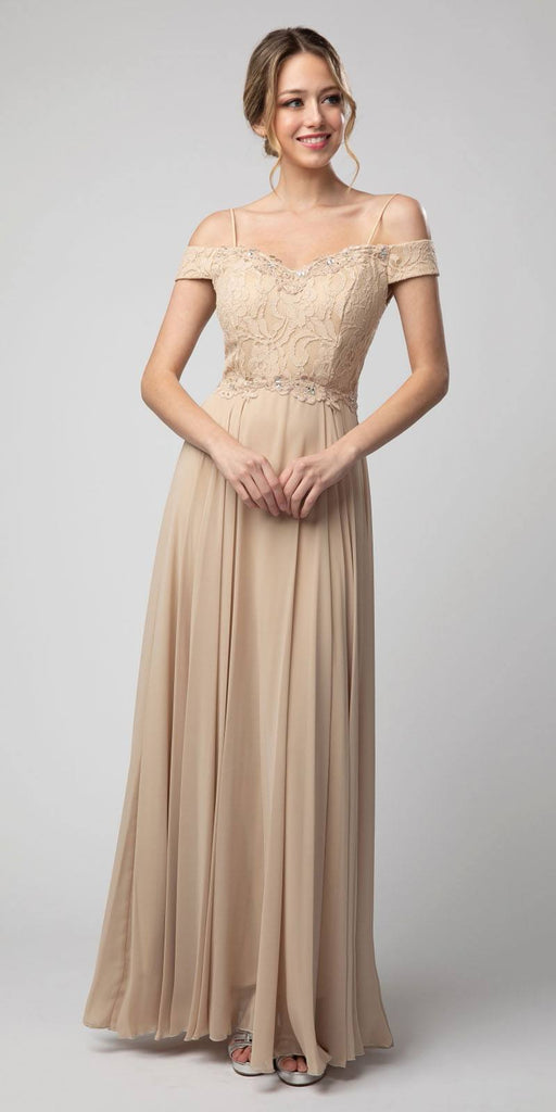 Lace Bodice Cold-Shoulder Long Formal Dress Champagne