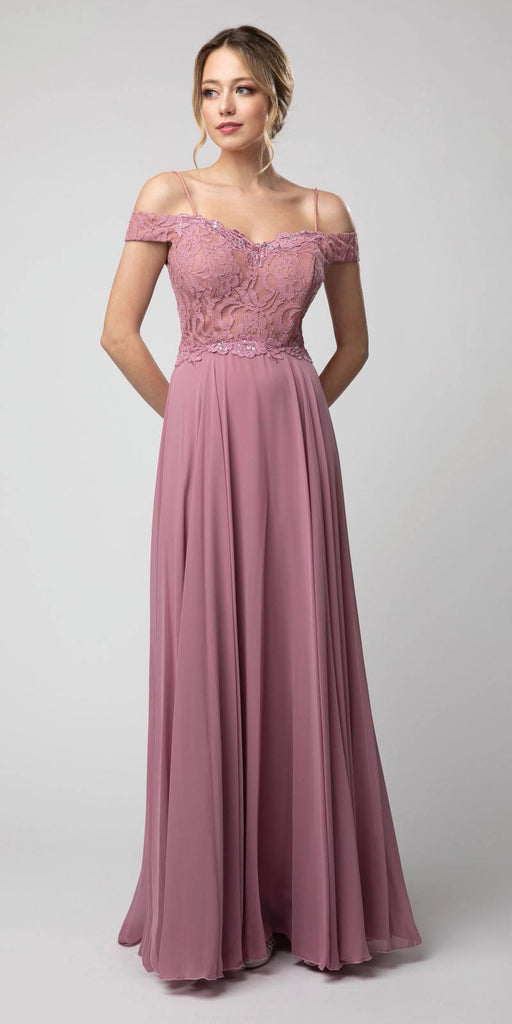 Lace Bodice Cold-Shoulder Long Formal Dress Mauve