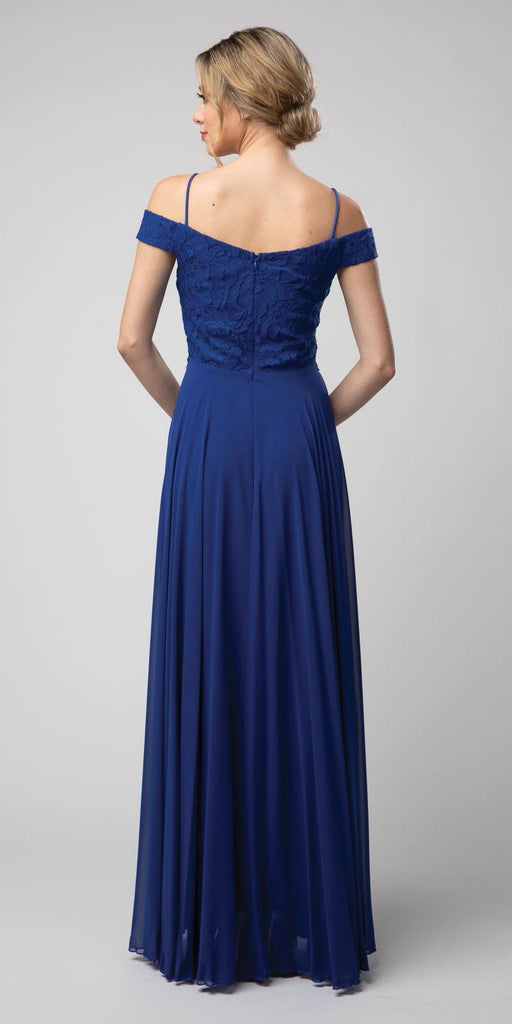 Lace Bodice Cold-Shoulder Long Formal Dress Royal Blue