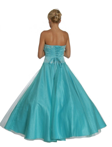 Aqua Princess Dress Strapless Aqua Ballroom Aqua Quinceanera Dresses