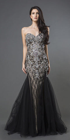 Black/Champagne Beaded Prom Gown Strapless