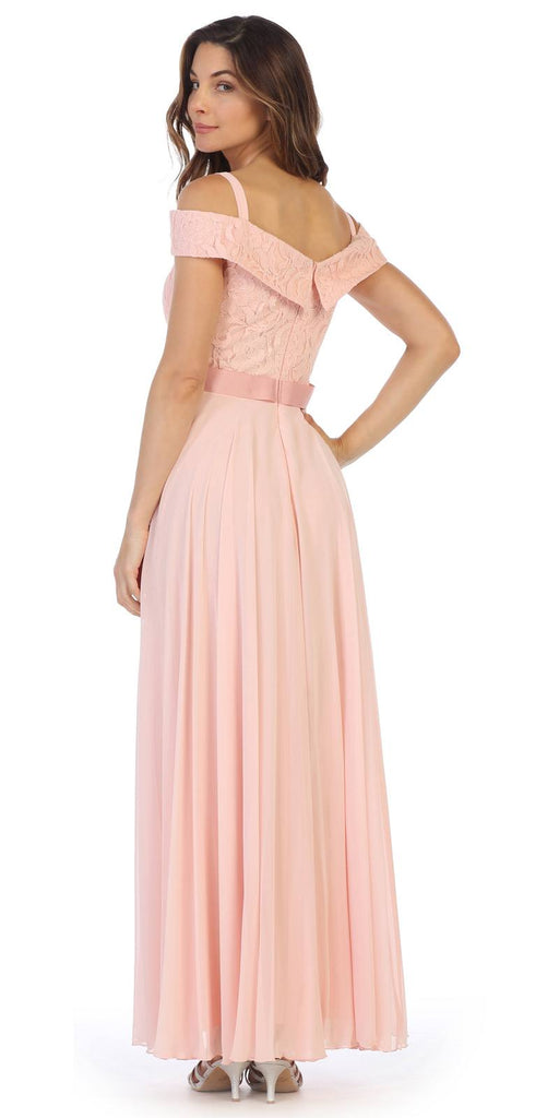 Cold-Shoulder A-Line Long Formal Dress Blush