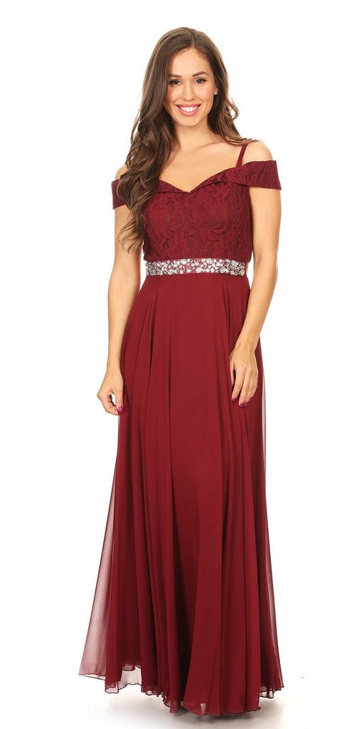 Cold-Shoulder A-Line Long Formal Dress Burgundy