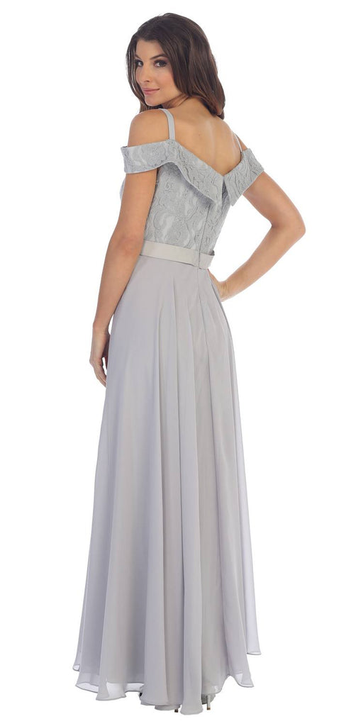 Cold-Shoulder A-Line Long Formal Dress Silver