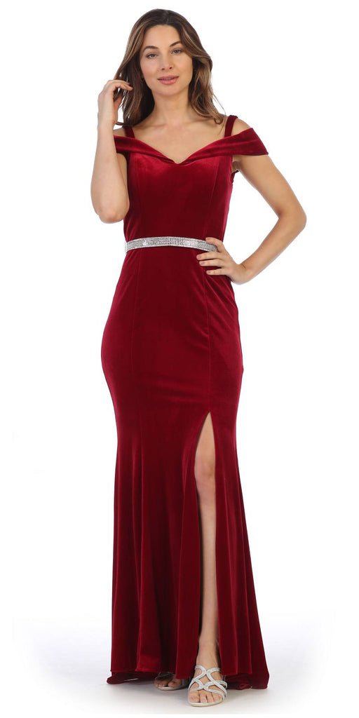 Off-Shoulder Burgundy Long Formal Dress with Slit