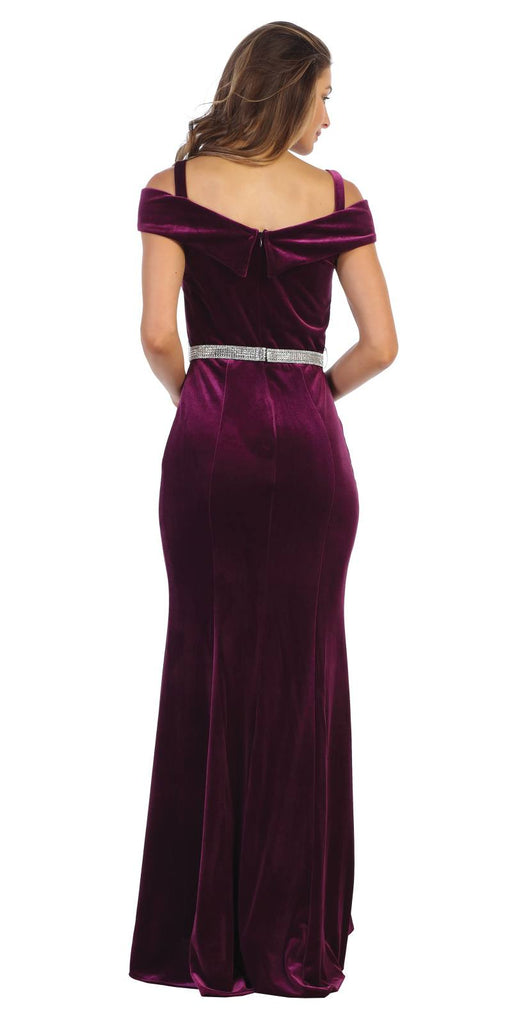 Off-Shoulder Plum Long Formal Dress with Slit
