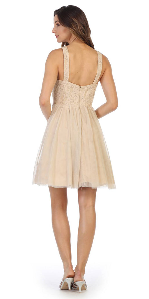 Champagne Homecoming Short Dress Embellished Waist