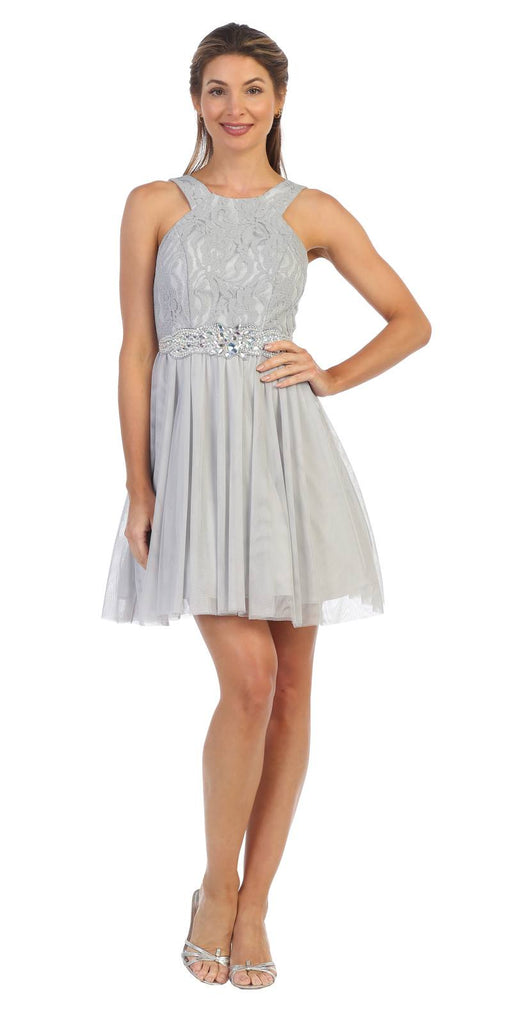Silver Homecoming Short Dress Embellished Waist