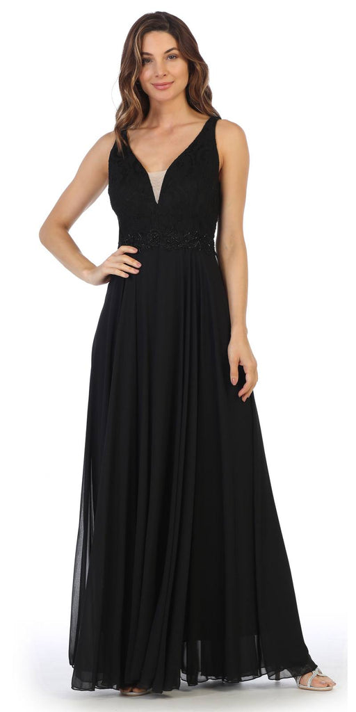 Black Lace Bodice A-Line Long Formal Dress with V-Neck