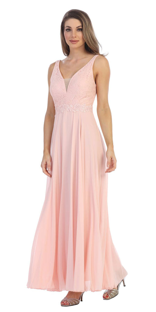 Blush Lace Bodice A-Line Long Formal Dress with V-Neck