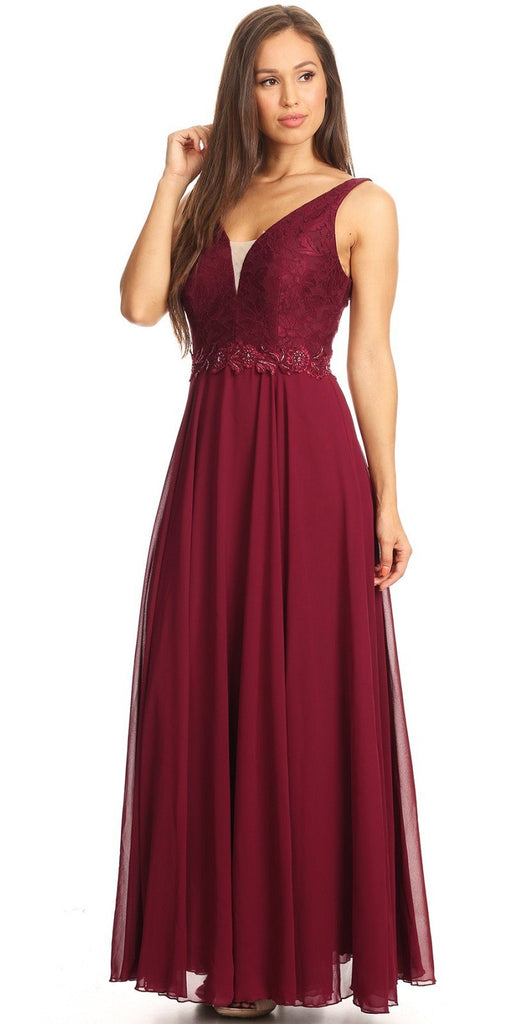 Burgundy Lace Bodice A-Line Long Formal Dress with V-Neck