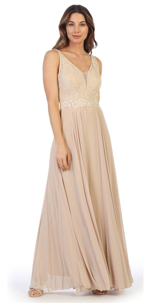 Champagne Lace Bodice A-Line Long Formal Dress with V-Neck