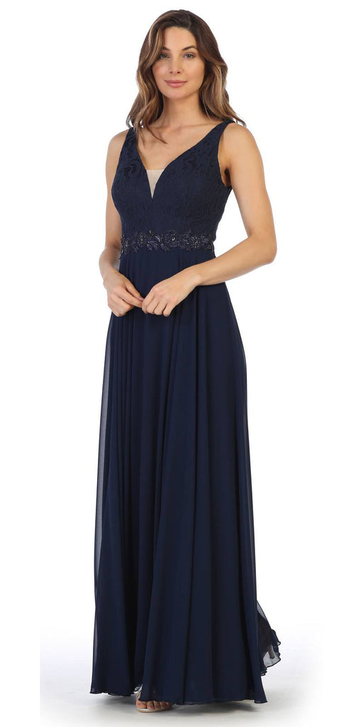 Navy Blue Lace Bodice A-Line Long Formal Dress with V-Neck