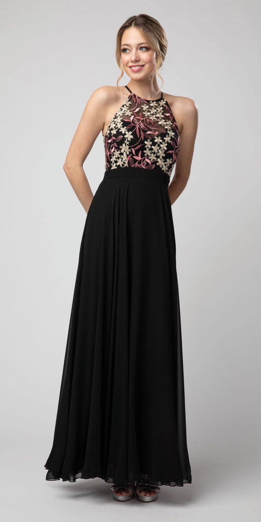 Black/Pink Halter Embroidered Long Formal Dress