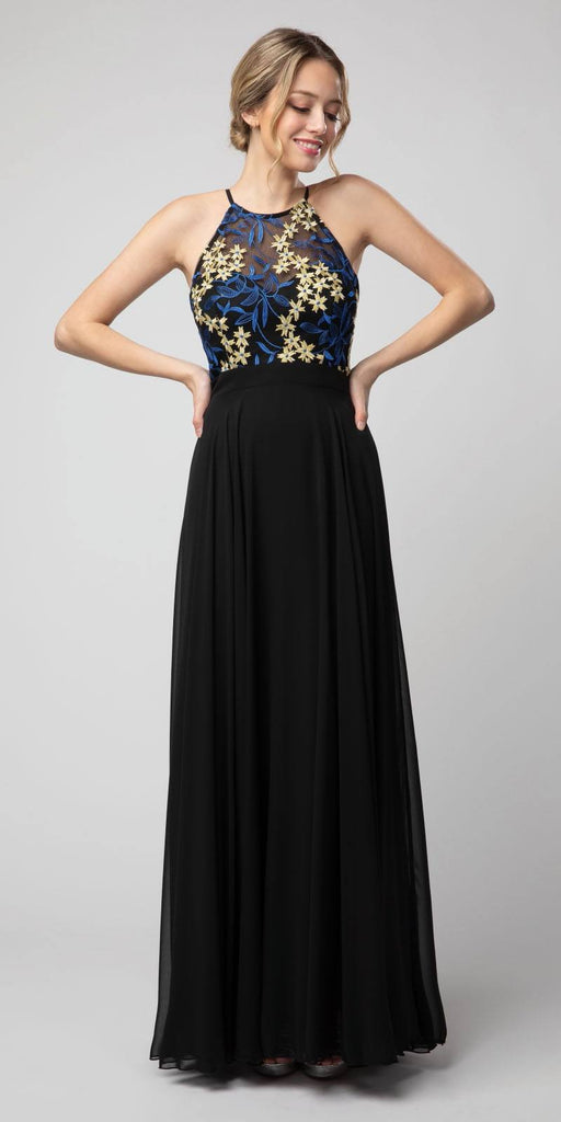 Black/Royal Blue Halter Embroidered Long Formal Dress