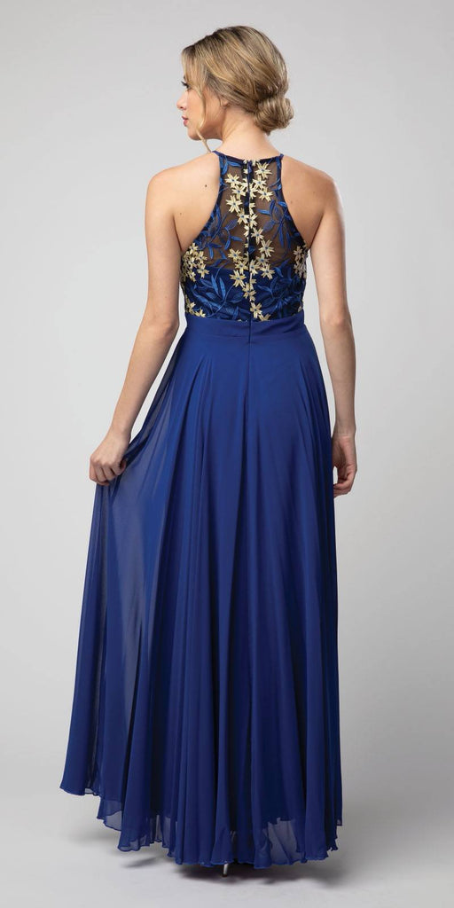 Royal Blue Halter Embroidered Long Formal Dress