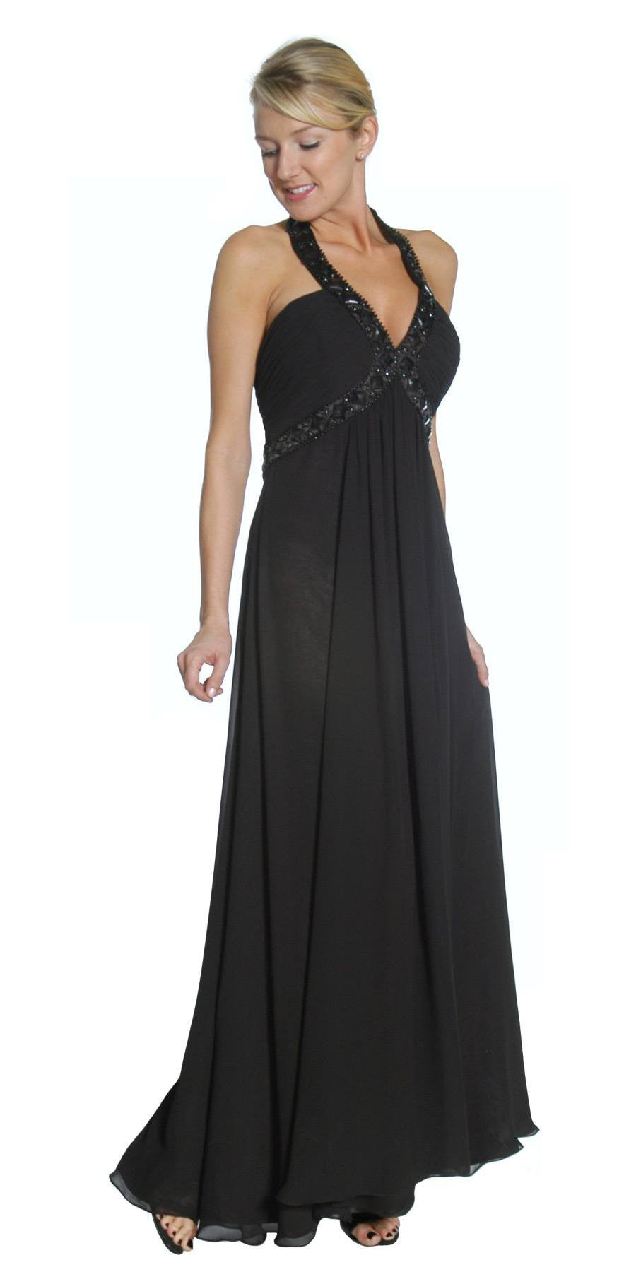 Black Empire Silhouette Formal Dress Jeweled V Neck Ruched Bodice