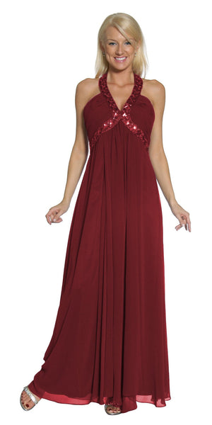 Burgundy Empire Silhouette Formal Dress Jeweled V Neck Ruched Bodice