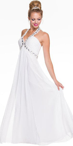Off White Empire Silhouette Formal Dress Jeweled V Neck Ruched Bodice