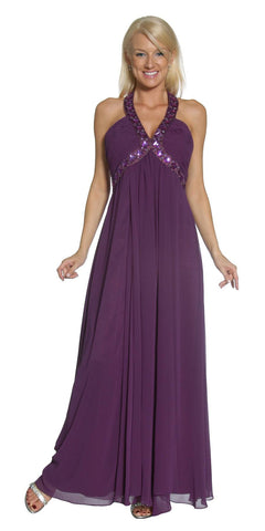 Purple Empire Silhouette Formal Dress Jeweled V Neck Ruched Bodice