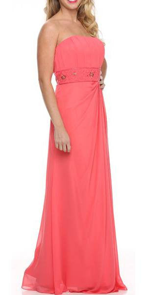 Coral Prom Dress Column Strapless Beaded Empire Draped Chiffon Skirt