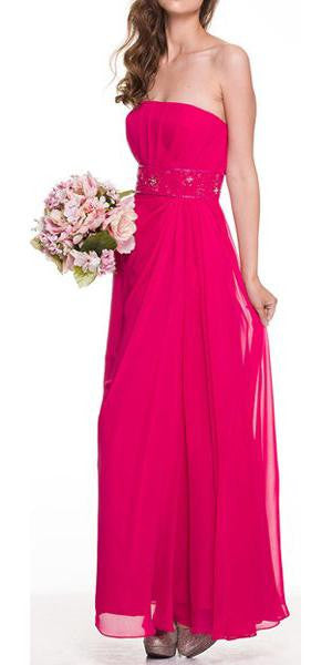 Fuchsia Prom Dress Column Strapless Beaded Empire Draped Chiffon Skirt