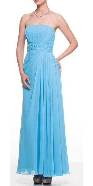 Turquoise Beaded Strapless Dress