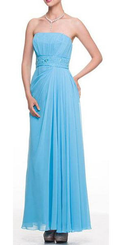 Light Turquoise Prom Dress Column Strapless Beaded Empire Draped Chiffon Skirt