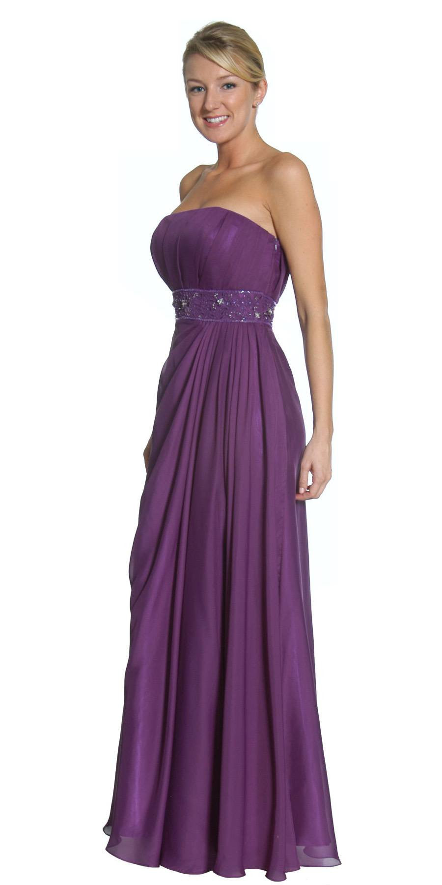 Purple Prom Dress Column Strapless Beaded Empire Draped Chiffon Skirt