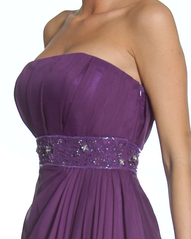 Zoom Purple Prom Dress Column Strapless Beaded Empire Draped Chiffon Skirt