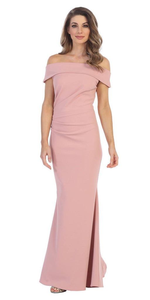 Dusty Rose Off-the-Shoulder Mermaid Long Formal Dress