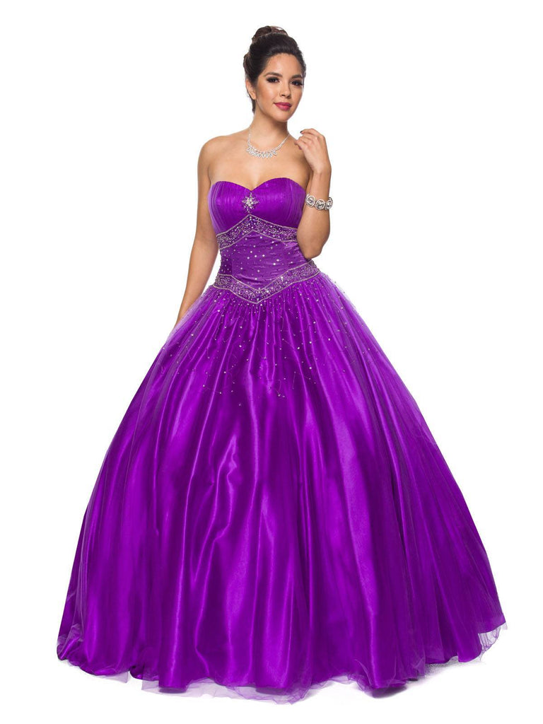 Juliet 1093 Purple Princess Ball Gown Sweetheart Bead Ruched Skirt Lace Up Back