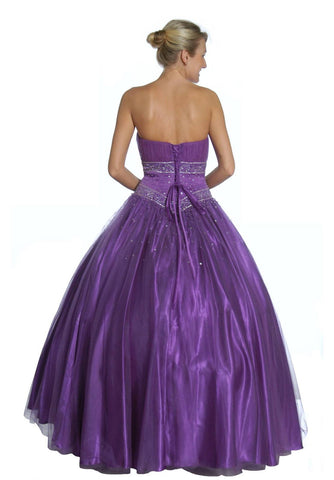 Purple Princess Ball Gown Sweetheart Bead Ruched Skirt Lace Up Back Back View