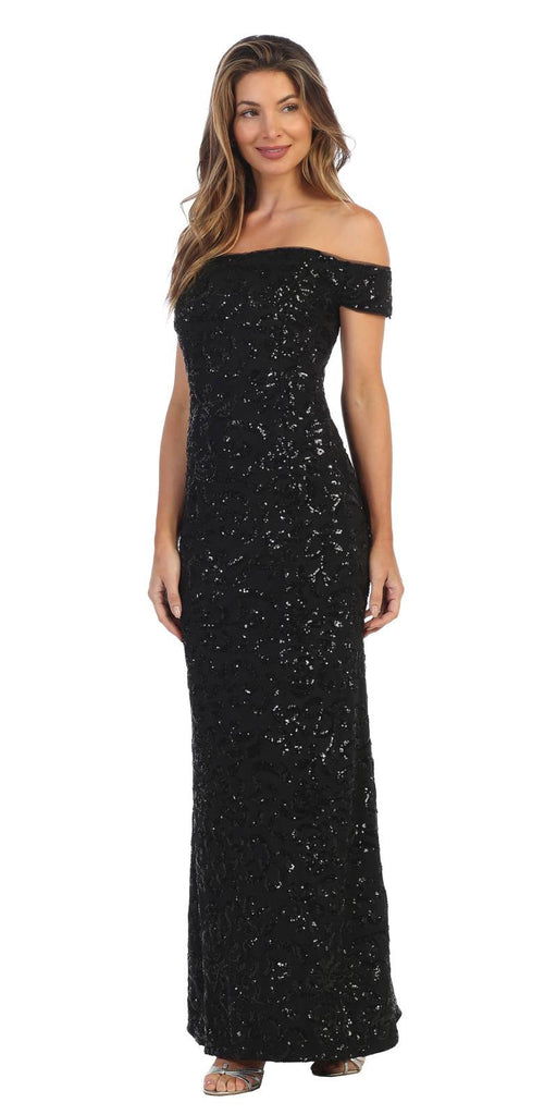 Black Sequin-Embellished Off-Shoulder Long Formal Dress