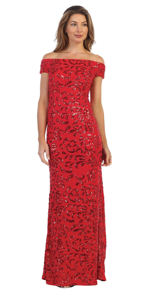 Red Sequin-Embellished Off-Shoulder Long Formal Dress