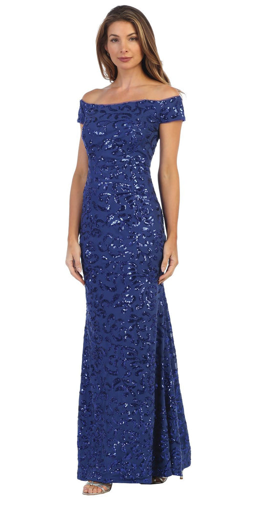 Royal Blue Sequin-Embellished Off-Shoulder Long Formal Dress