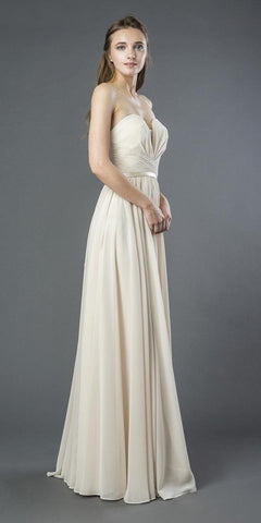 Champagne Strapless Long Formal Dress Lace-Up Back