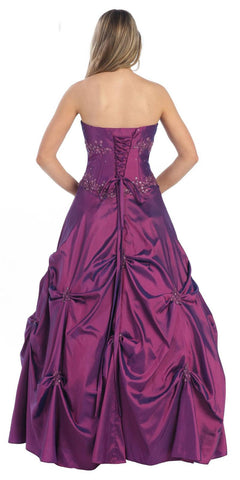 Poofy Prom Dress Purple Quinceanera Gown Strapless Sweetheart Sequin