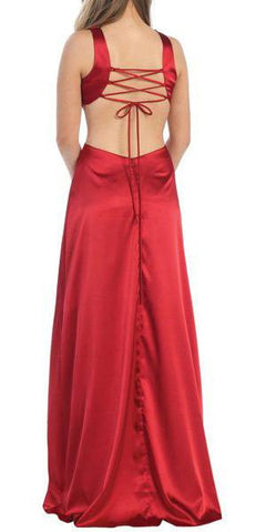 ON SPECIAL - LIMITED STOCK - Sexy Red Dress Prom Long Open Front Slit Side V Neckline Rhinestones Gown - DiscountDressShop