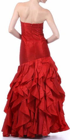 Empire Jeweled Waist Red Formal Dress Asymmetric Ruffle Hem Fan Bust