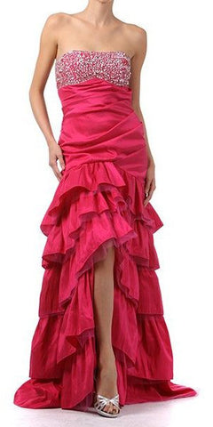 Fuchsia Satin Mermaid Gown with Beaded Bodice Plunging Neck